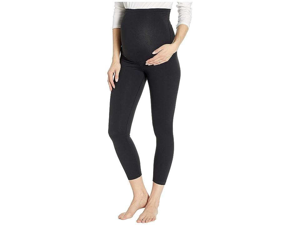 Beyond Yoga Maternity Empire Waisted Capri Leggings (Jet Black) Women