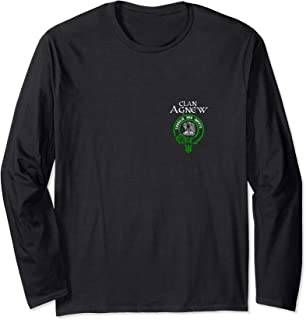 Clan Agnew Tartan Crest Design on Back and Left Chest Long Sleeve T-Shirt