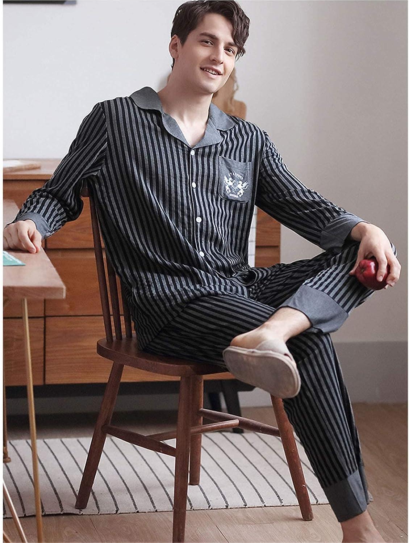 FMOGG Men's Pajama Set Long Sleeve Striped Sleepwear Lightweight Button Down Tops and Pants/Bottoms Classic Modal Loungewear Set Autumn and Winter Gray L-3Xl