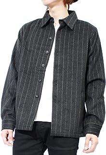 RICEND(リセンド) ジャケット メンズ ウール メルトン ストライプ 厚手 シャツジャケット