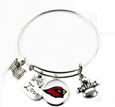 "BAS Arizona Cardinals Metal Charm Bracelet 7"" to 9"" Adjustable"