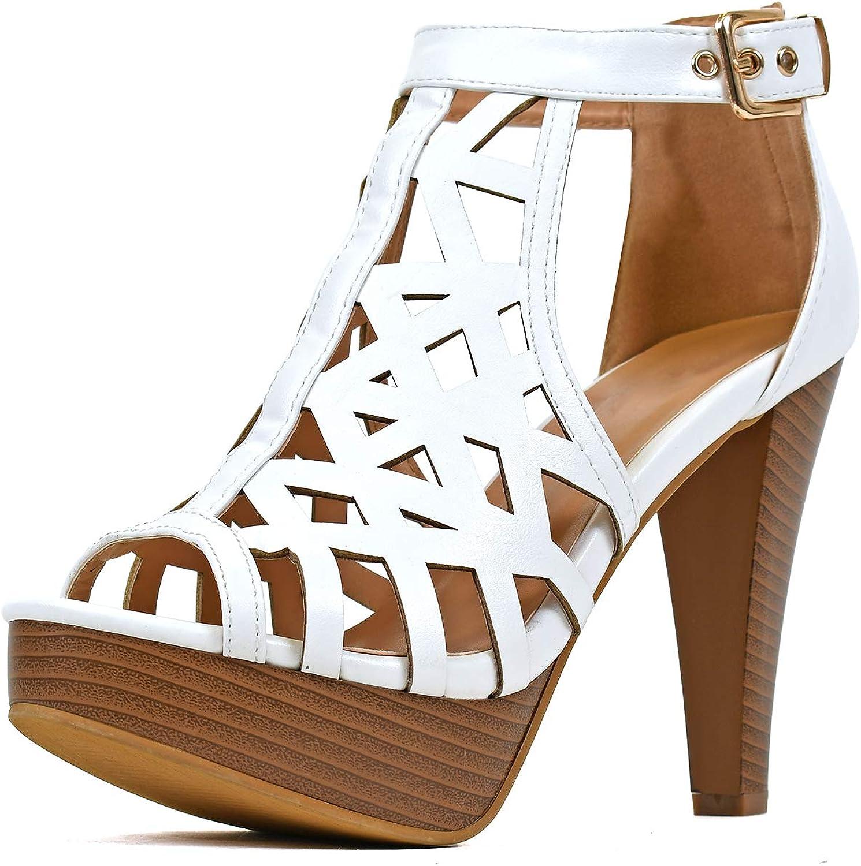 Guilty Shoes - Womens Stiletto Platform High Heel Sandal - Peep Toe Cutout Comfortable Heeled Sexy Shoe Pumps