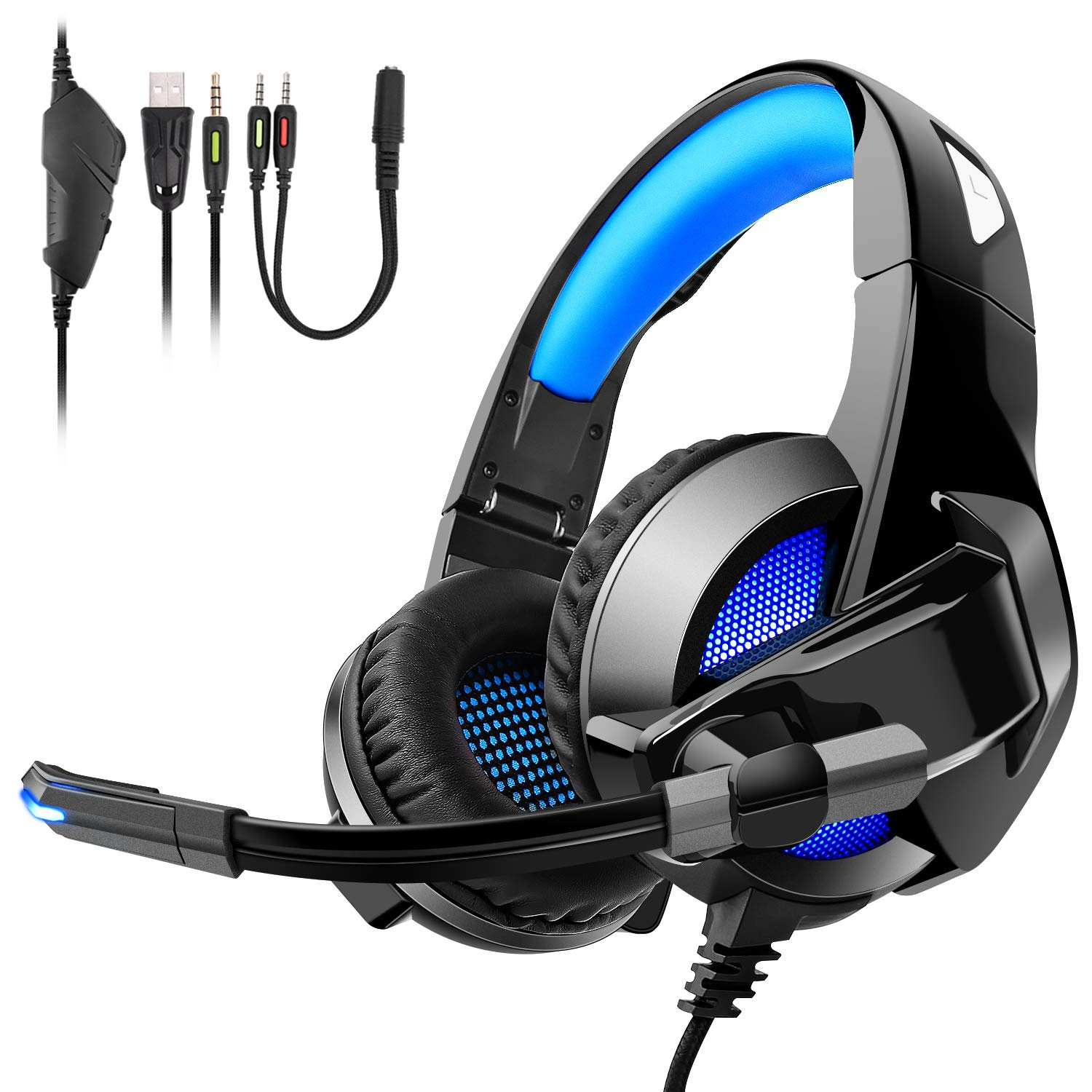 Gaming Headset for PS4, TENSWALL Comfortable Over-Ear Foldable Gaming Headphones with Mic LED Light Noise Cancelling & Volume Control for Xbox One, Nintendo Switch, PC, Laptop, Mac, Tablet