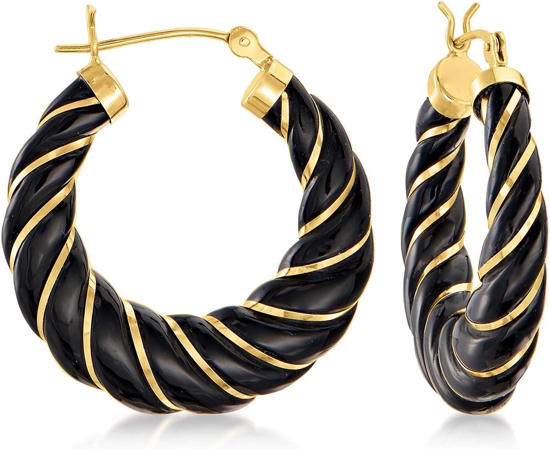 Ross-Simons Black Agate Twisted Hoop Earrings in 14kt Yellow Gold