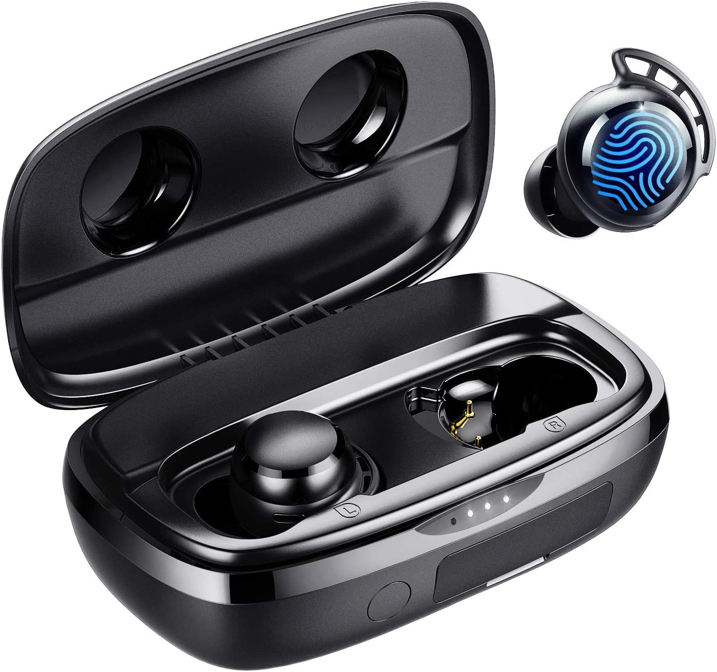Wireless Earbuds, Tribit 100H Playtime Bluetooth 5.0 IPX8 Waterproof Touch Control Ture Wireless Bluetooth Earbuds with Mic Earphones in-Ear Deep Bass Built-in Mic Bluetooth Headphones, FlyBuds 3