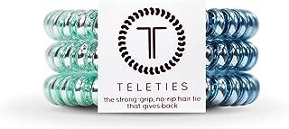TELETIES Small Blue Sapphire Hair Ties, Hair Coils 3 pack