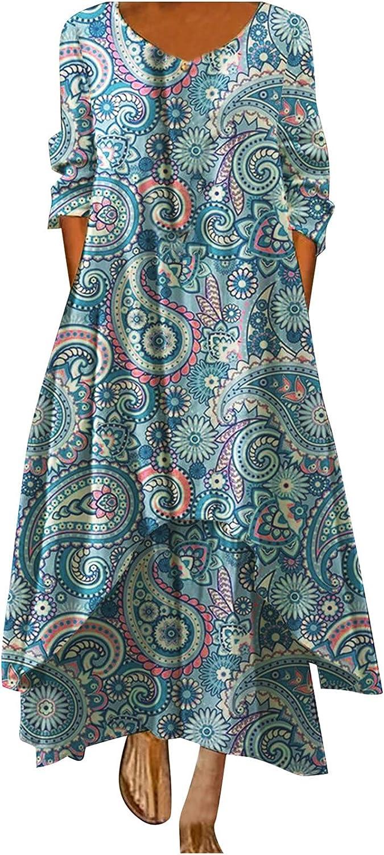 TIMIFIS Womens Long Dresses Long Sleeve Sun Dress Flowy O Neck Dress Fashion Print Everyday Dress Loose Sun Dress