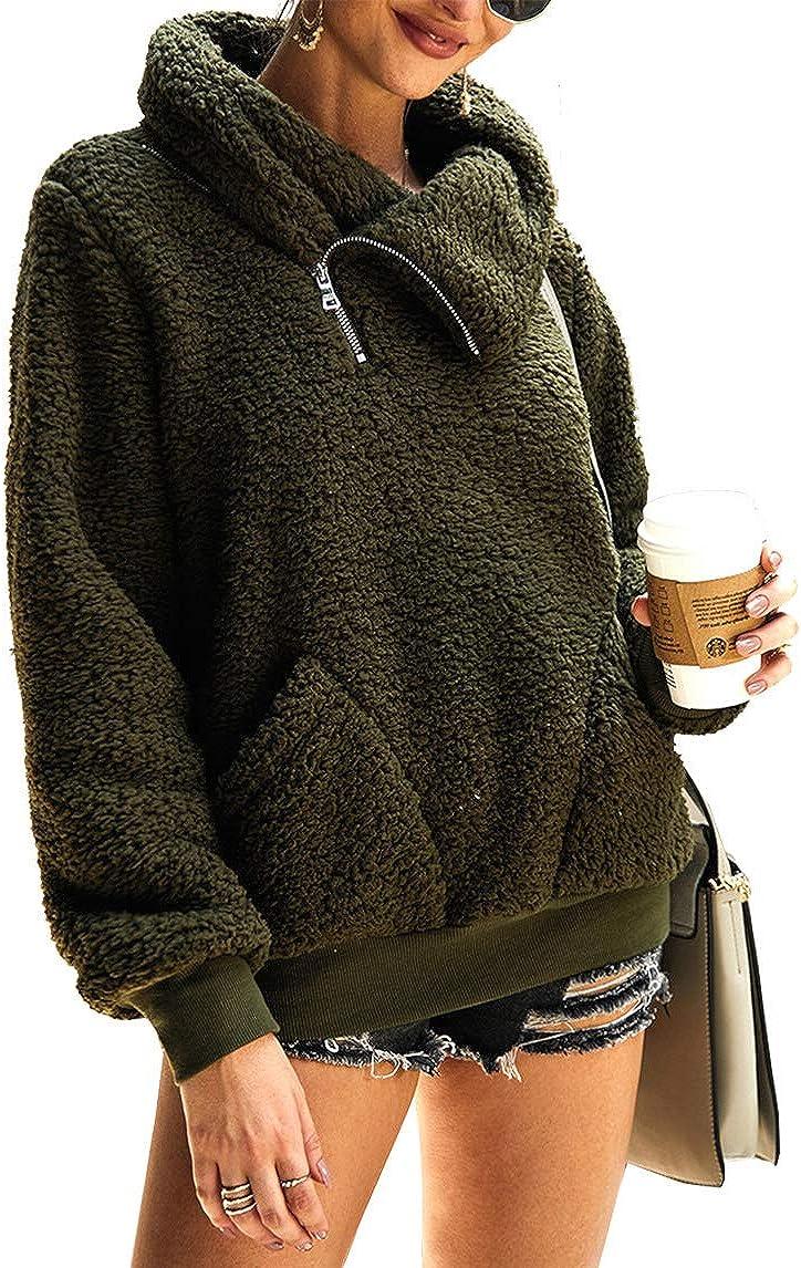 KIRUNDO List price 2021 Women's Challenge the lowest price Winter Lapel Fuzzy F Fleece Sweatshirt