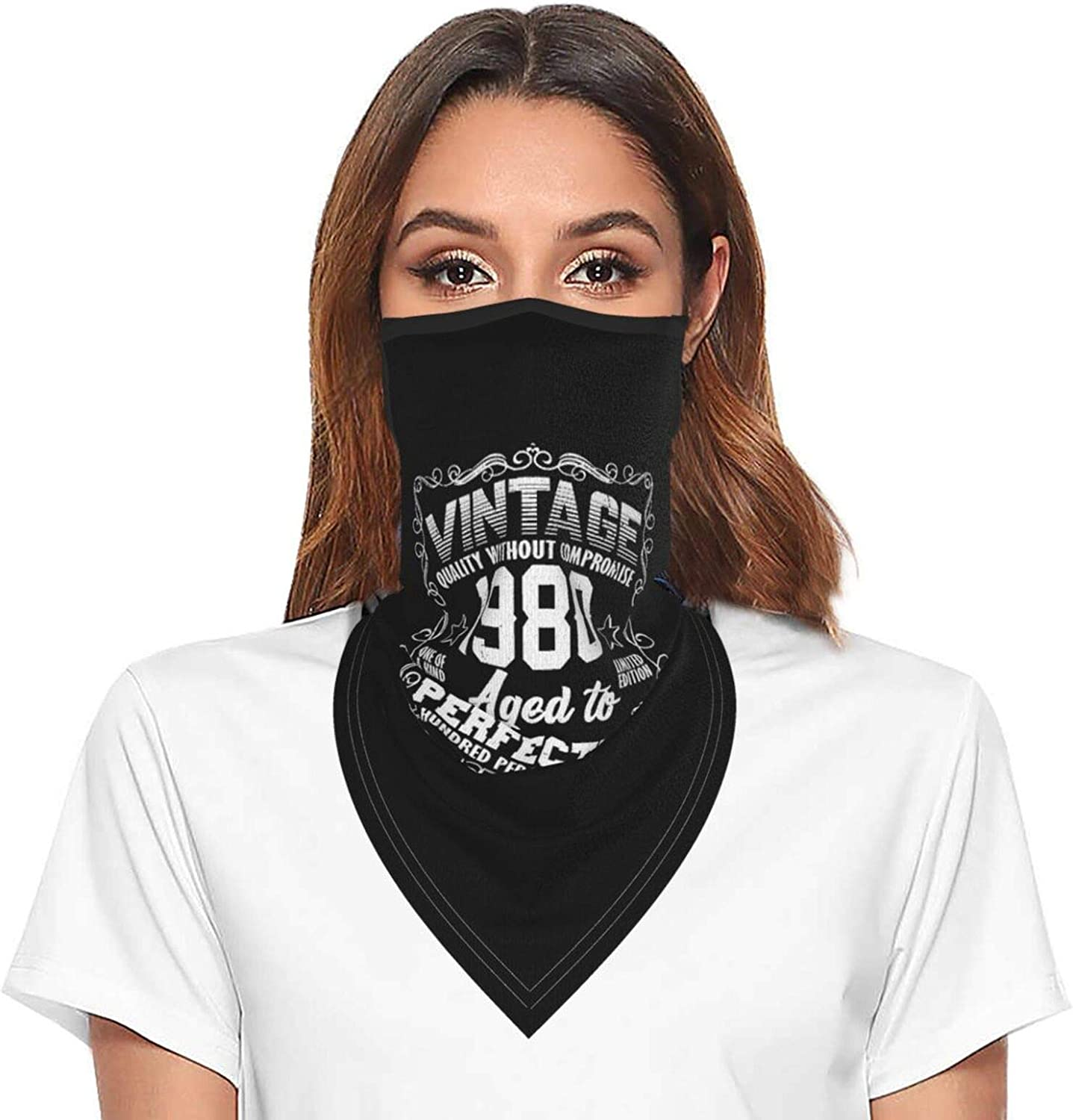 Vintage 1980 Neck Gaiter Face Mask With Ear Loops Outdoor Breathable Scarf For Men Women