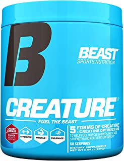Beast Sports Nutrition – Creature Creatine Complex – Fuel Muscle Growth – Optimize Muscle Strength – Enhance Endurance – Increase Recovery Time – Five Forms of Creatine – Cherry Limeade 60 Servings