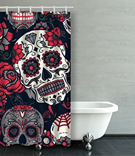 Emvency Shower Curtain Waterproof Day Of The Dead Colorful Sugar Skull With Floral Ornament And Flower Cotton Sofa With Plastic Hooks Polyester Fabric Adjustable Curtain For Bathroom