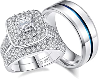 AHLOE JEWELRY 1.8Ct Princess 18k Gold Wedding Ring Sets for Him and Her Women Men Titanium Stainless Steel Bands Cz Couples
