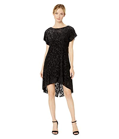 Adrianna Papell Lurex Velvet Knot Back Shift Dress (Black) Women