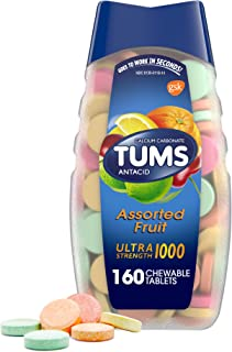 TUMS Ultra Strength Antacid Tablets for Chewable Heartburn Relief and Acid Indigestion Relief, Assorted Fruit - 160 Count