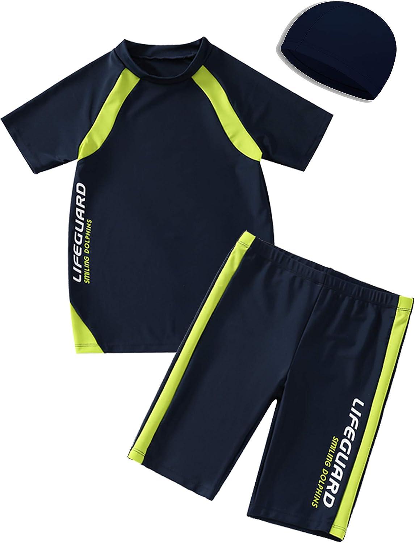 Kids Boys Swimsuits UPF50+UV Swimwear Set Two Piece Rash Guard with hat for 4-12 Years