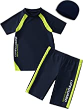 Kids Boys Swimsuits UPF50+UV Swimwear Set Two Piece Rash Guard with hat for 4-12 Years