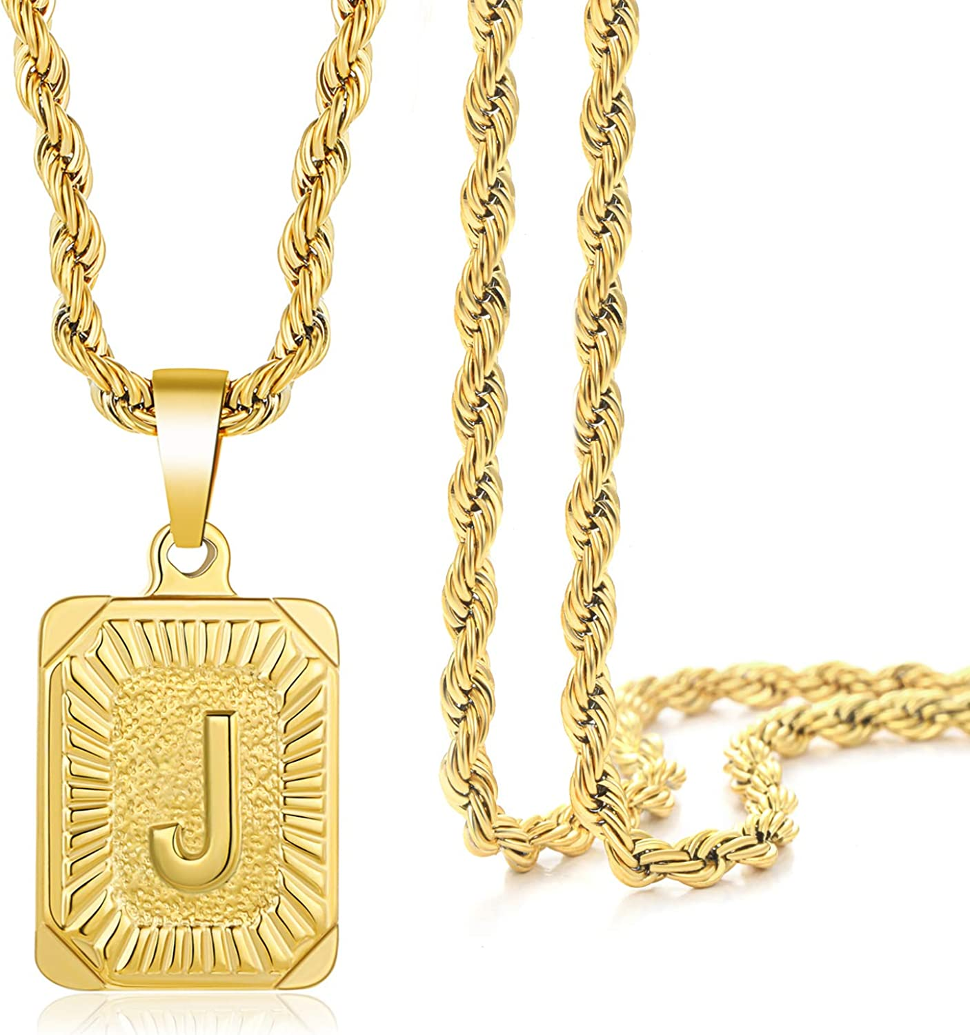 Gold Initial Necklace Gift for Men,14K Gold Plated Letter Pendant Necklace for Women, 26 Capital A-Z Letter Square Stainless Steel Personalized Chain Necklaces for Men Boys …