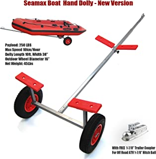"""SEAMAX Portable Boat Carry and Launch Hand Dolly Set with 16"""" Pneumatic Wheels"""