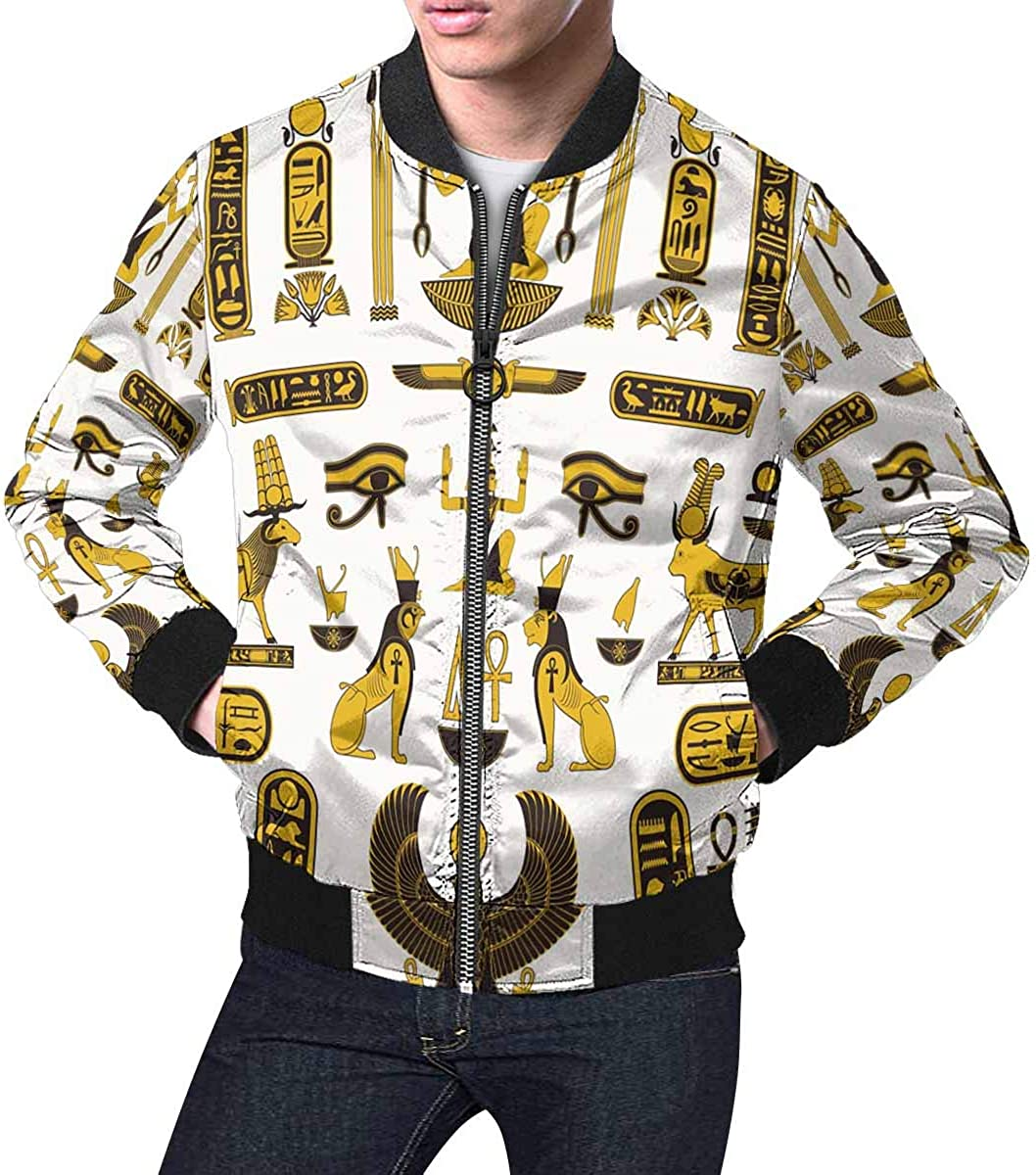 INTERESTPRINT Fixed price for sale Men's Classic Reservation Casual Jacket Ancient Symbo Egyptian