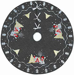 Simhomsen Christmas Holiday Snowman Tree Skirt, Used for 4-5 Feet Tree (33 Inches)