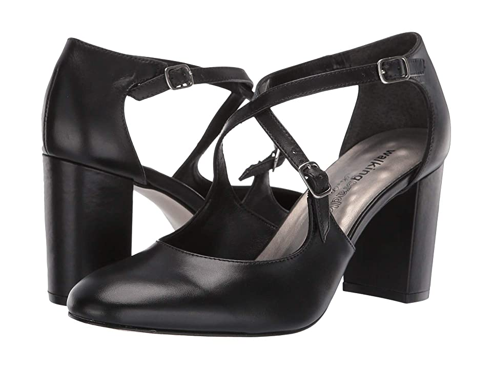 60s Shoes, Boots   70s Shoes, Platforms, Boots Walking Cradles Mariah Black Leather High Heels $119.95 AT vintagedancer.com