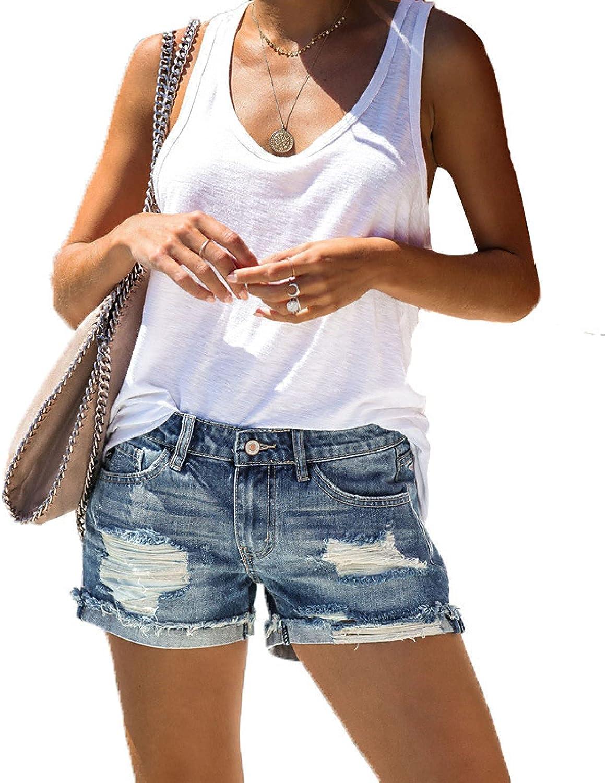 Qinvern Women's Attention New life brand Cuffed Denim Streetwear Shorts Distressed Washed