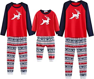 Matching Family Christmas Pajamas, Classic Red Reindeer Xmas Holiday PJs Outfits Set