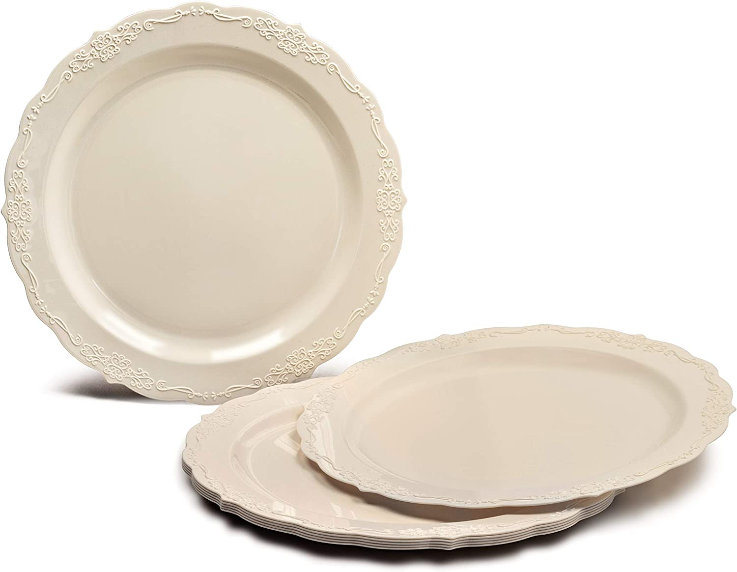OCCASIONS 120 PACK, Heavyweight Disposable Wedding Party Plastic Plates (10.25'' Dinner Plate, Verona Plain Ivory)