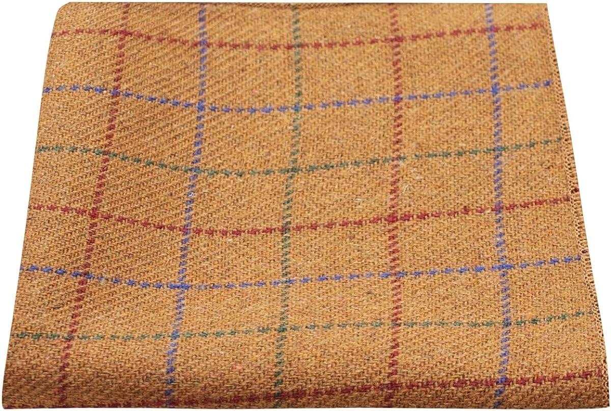 Heritage Check Rustic Brown Pocket Square, Tweed, Handkerchief