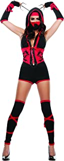 Starline Women's Red Dragon Sexy Ninja 4 Piece Costume Set with Mask