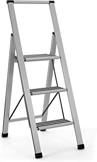 Aluminum Folding 3 Step Ladder, Anti Slip, Sturdy, Lightweight and Slim Design, Heavy Duty, Silver