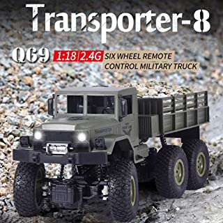Upgraded Remote Control Car RC Off-Road Vehicle 1:18 Scale 4WD 2.4GHz RC Military Truck Electric Racing Car RC Buggy Truck Crawler Electric Hobby Car Toy for Adults and Kids
