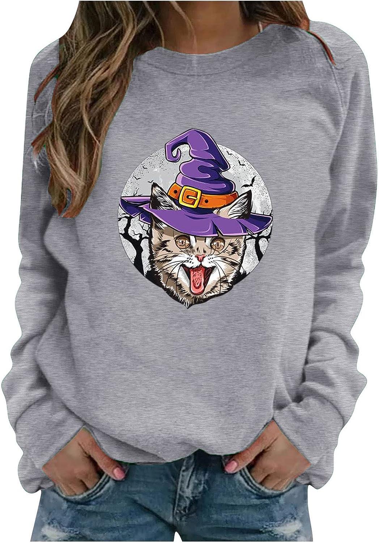 Halloween Sweatshirt for Women Pumpkin Print Super Award-winning store sale Long- Cat