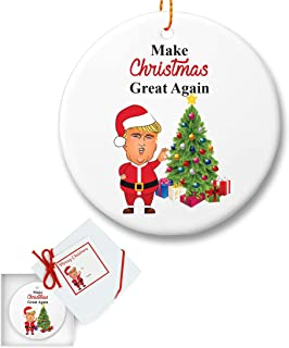President Trump Christmas Ceramic Tree Ornament - Make Christmas Great Again - Gifts for Dad Mom Men Women Husband - Holidays Presents Keepsake Hallmark Collectible Conservative Gift Ideas 2018 -
