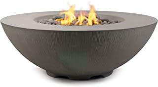 Pyromania Shangri-La Outdoor Fire Table, Fire Pit Table, Fire Bowl. Hand Crafted from High Performance Concrete. 60,000 BTU Stainless Steel Burner with Electronic Ignition - Natural Gas, Slate Color