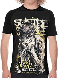 Mitch Lucker The Band Suicide Silence? Tシャツ メンズ ラグラン 野球服 速乾性 柔らかい 通気性 半袖 丸首 ブラックカジュアル