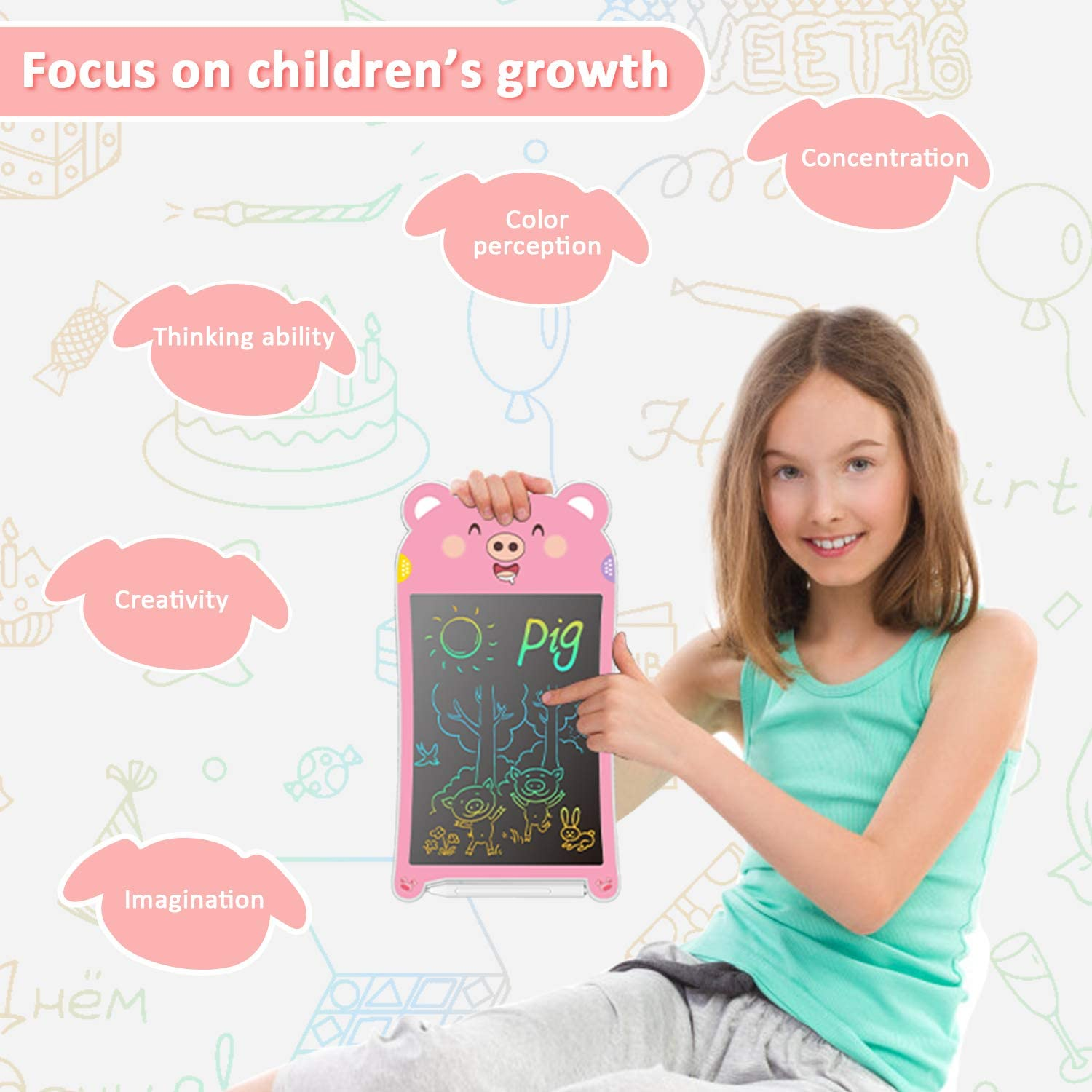 Great Educational Toys Gifts for 3 4 5 6 7 Year Old Boys Girls 8.5Inch Kids Drawing Pad and Doodle Board for Kids with Colorful and Brighter line GUYUCOM LCD Writing Tablet Pink