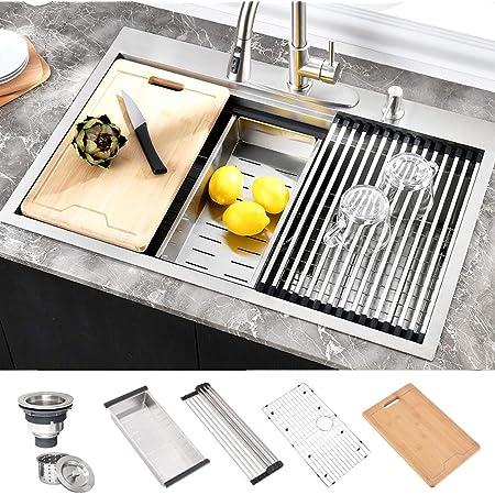 HOSINO 33 inch Drop in Kitchen Sink, Stainless Steel Workstation Sink Double Ledges Topmount Sink 16 Gauge Handmade Sink Single Bowl Sink 33x22 Deep Large Sink