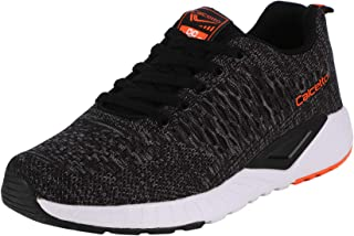 calcetto Latest Collection for Mens Black Orange Nylon Mesh Sports Shoes
