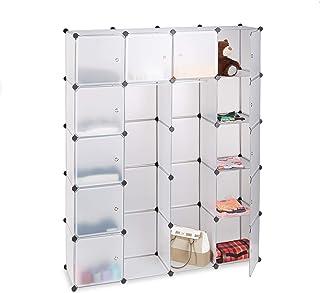 Relaxdays Étagère cubes rangement penderie armoire 14 compartiments plastique 2 tringles modulable, Transparent, 36.5 x 14...