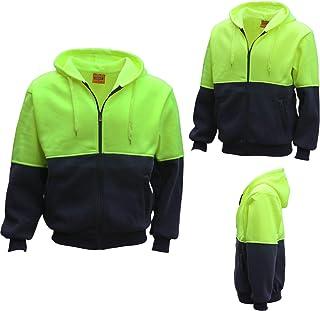 Zmart HI VIS Full Zip Fleece-Lined Fleecy Hoodie Jumper Safety Workwear Pocket Jacket