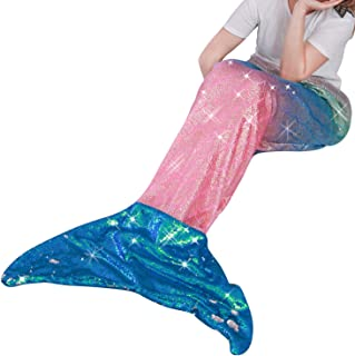 """Mermaid Tail Blanket for Kid Teen Adult,Plush Soft Flannel Fleece All Seasons Sleeping Bag with Twinkle Sequins Tail,Rainbow Ombre Glittering Fish Scale Snuggle Blanket,Best Gifts for Girls,25""""×60"""""""