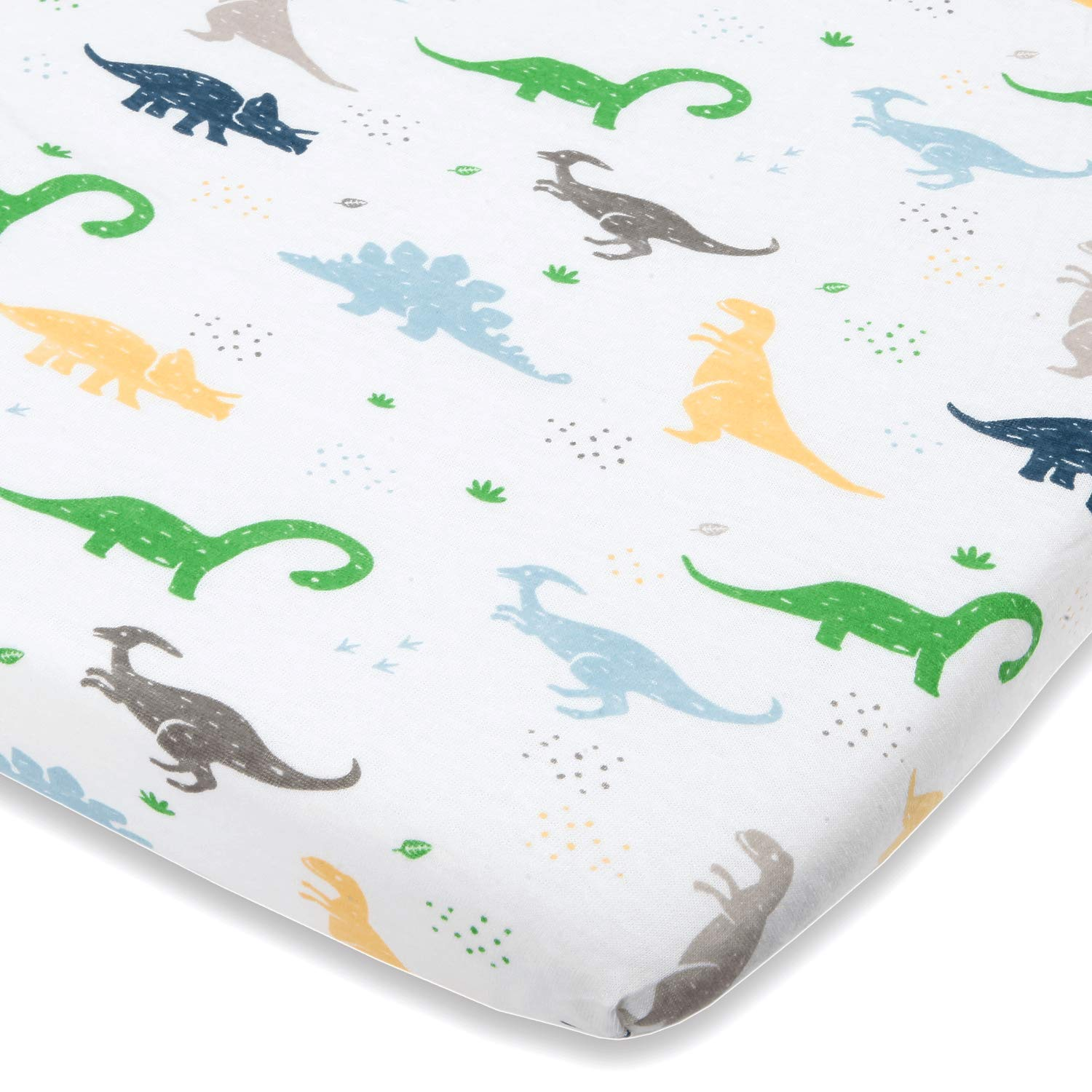 Dinosaur Bassinet Sheets Compatible with Chicco Lullago, Halo Bassinet, Arms Reach Versatile Co Sleeper and Other Oval, Rectangle, Hourglass Bassinet Pads - Pure Natural Cotton - Ultra Soft
