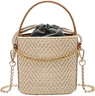 Ccassie Womens Summer Top Handle Drawstring Straw Bucket Beach Bag Woven Crossbody Bag Shoulder Bag