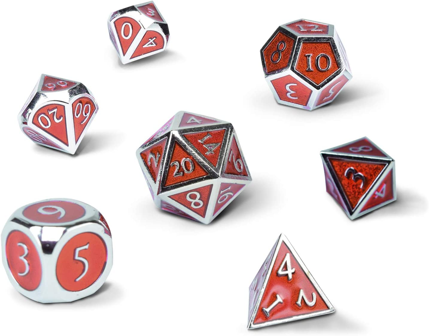 Set of 7 Red Metal Polyhedral Dice Enamel with Tin Storage Case by RNK Gaming