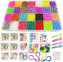 Loom Kit, Rubber Bands Refills Set for Kids Bracelet Loom Craft, 10000pcs in 28 Different Colors, 10 Packs S clips, 4 Packs Colorful Beads, 1 Pack Alphabet Beads, 4 Packs Loom Charms