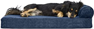 Furhaven Pet Dog Bed | Deluxe Orthopedic Faux Fleece & Corduroy Chaise Lounge Living Room Couch Pet Bed w/ Removable Cover for Dogs & Cats, Navy, Medium