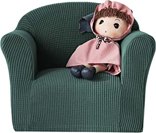 CHUN YI Jacquard HighStretch Kids Sofa Cover Child's Chair Cover Mini Size Sofa Slipcovers, 1 Seat Soft Armchair Couch Cover Settee Coat for Children/Toddlers/Baby (Dark Cyan)