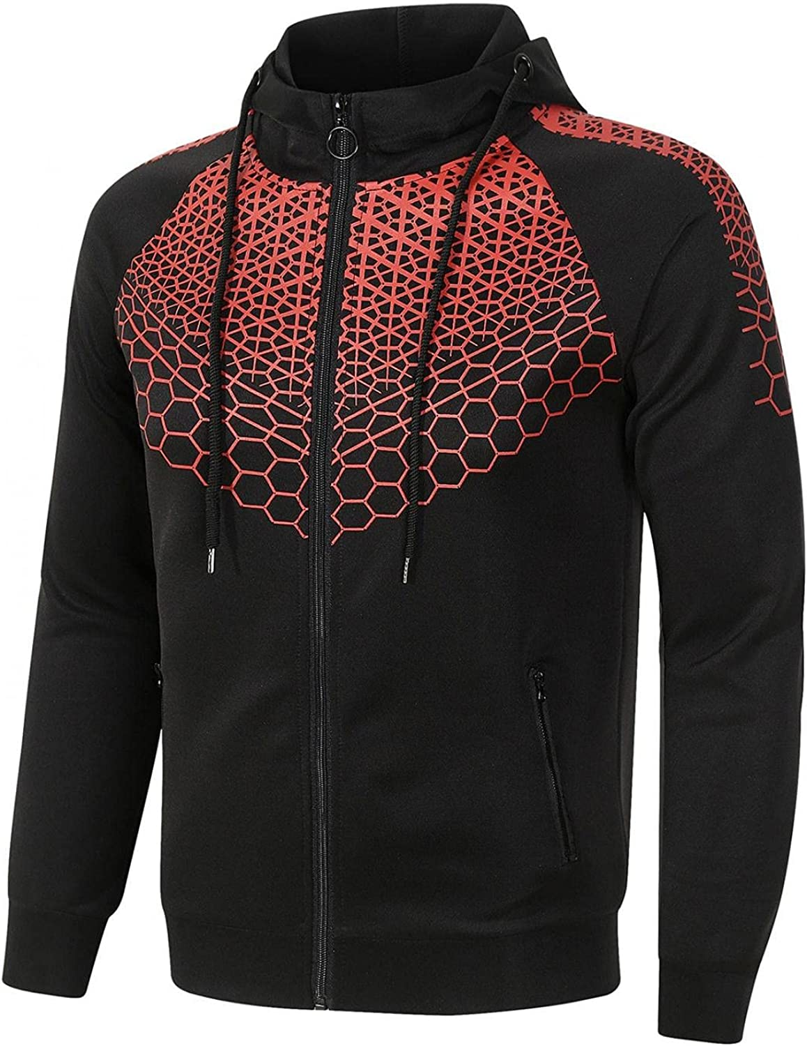 LEIYAN Mens Outdoors Sport Jackets Zip Up Casual Long Sleeve Slim Fit Activewear Novelty Graphic Stand Collar Moto Jackets