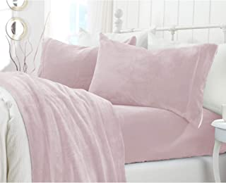 Great Bay Home Extra Soft Cozy Velvet Plush Sheet Set. Deluxe Bed Sheets with Deep Pockets. Velvet Luxe Collection (Twin, Blush Pink)